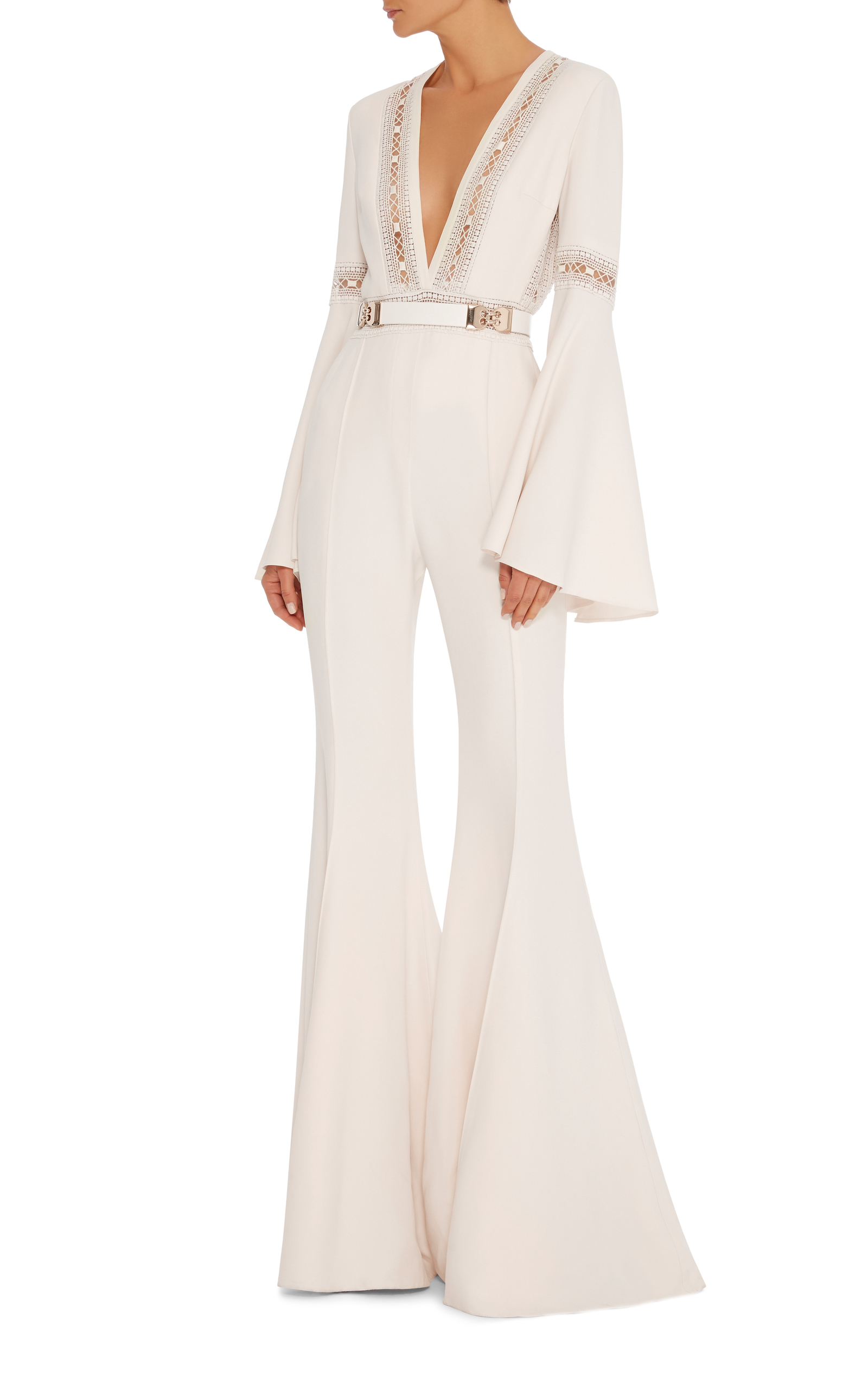 a70a6b6918f Flared Jumpsuit With Deep V-Neck With Lace Trim by Elie Saab
