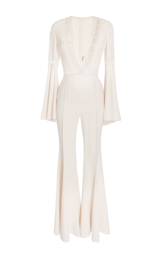 Medium elie saab white flared jumpsuit with deep v neck with lace trim