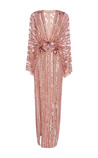 Medium elie saab metallic long embroidered dress with kimono sleeves and deep v neck