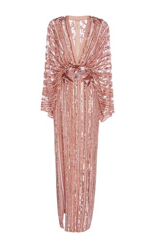 Medium elie saab metallic long embroidered dress with kimono sleeves and deep v neck