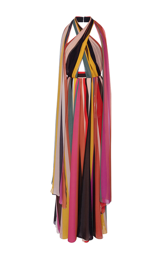 Medium elie saab stripe striped halter neck maxi dress