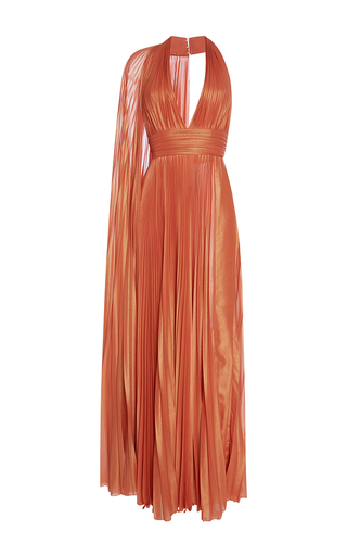 Medium elie saab orange sleeveless halter neck pleated maxi dress