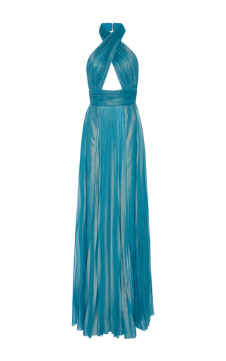 Medium elie saab blue pleated wrapped halter neck maxi dress