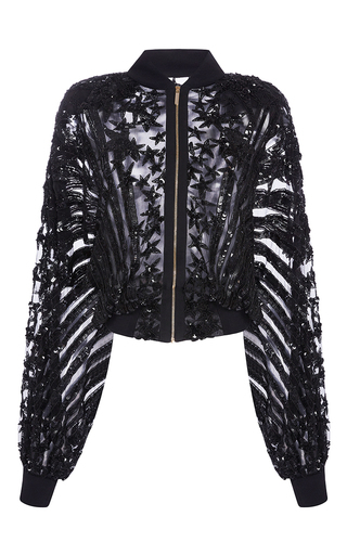 Medium elie saab black stars embroidered zipped bomber