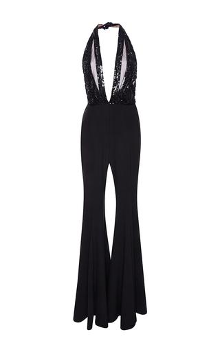 Medium elie saab black flared jumpsuit with embroidered sleeveless top