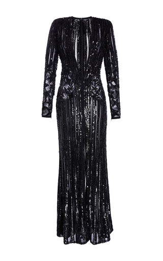 Medium elie saab black embroidered long dress with long sleeves and deep v neck