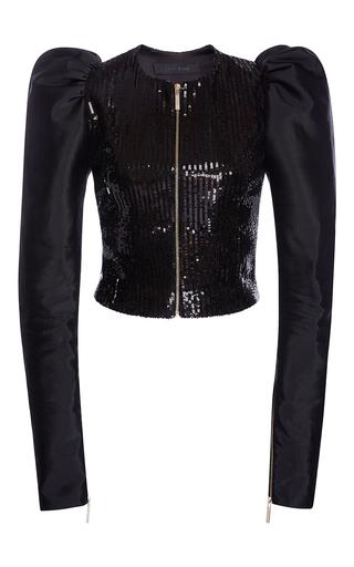 Medium elie saab black paillettes jacket with twill organdi juliet sleeves