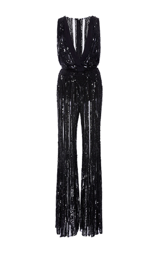 Medium elie saab black sleeveless flare embroidered jumpsuit with deep v neck