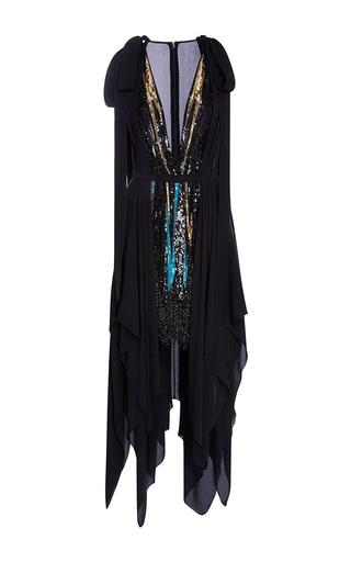 Medium elie saab black short embroidered v neck dress