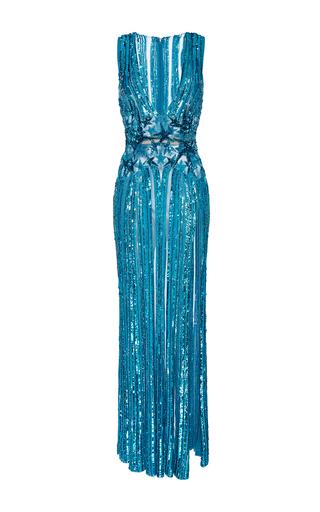Medium elie saab blue sleeveless embroidered sequin maxi dress