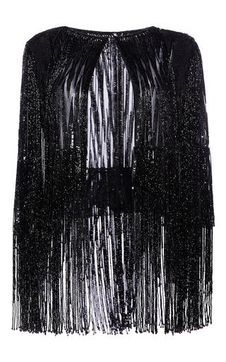 Medium elie saab black embroidered jacket with fringes