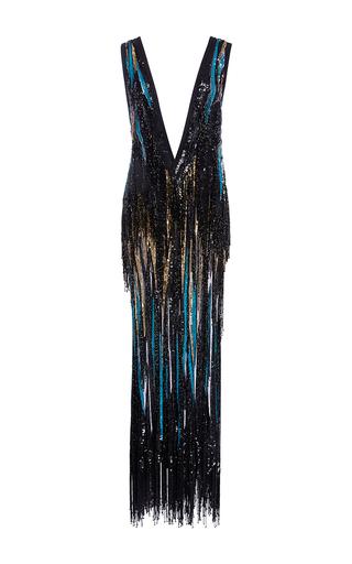 Medium elie saab multi sleeveless maxi dress with deep v neck