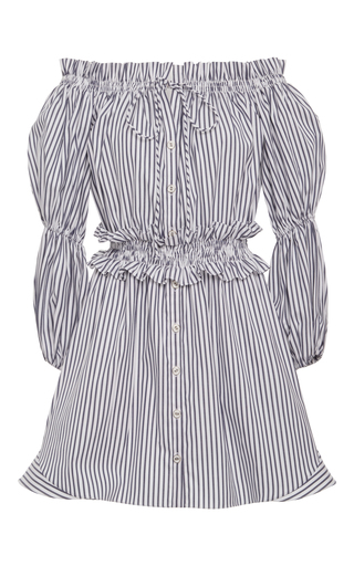 Medium caroline constas stripe off the shoulder peasant dress