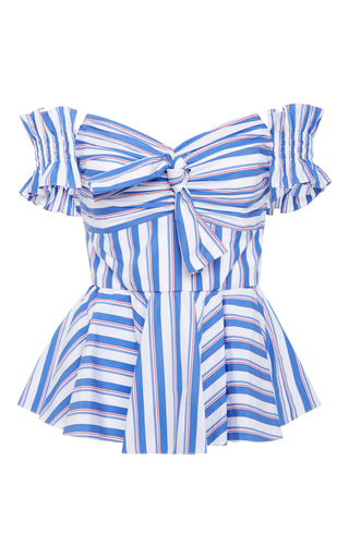 Medium caroline constas stripe artemis peplum bow bustier top