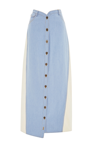 Medium rosie assoulin blue sunbleach denim button fronted skirt
