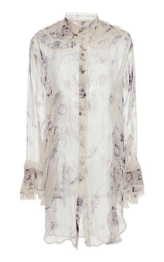 Medium roberto cavalli white printed silk chiffon blouse