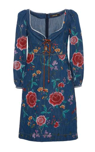 Medium roberto cavalli blue embroidered lace0up denim dress
