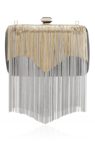 Medium elie saab metallic fringed minaudiere