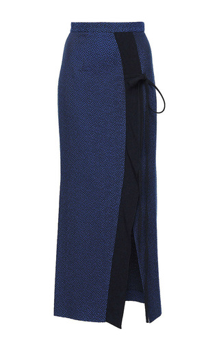 Medium roland mouret navy brantley stretch textured jacquard skirt