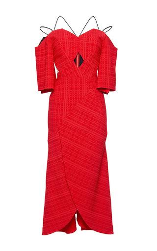Medium roland mouret red hollander puckered check dress
