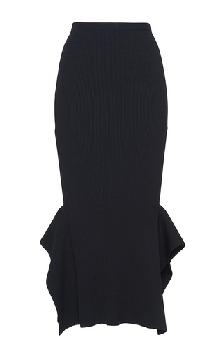 Medium roland mouret black fletcher rib knit skirt