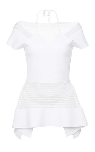 Medium roland mouret white strawson rolling stripe knit top