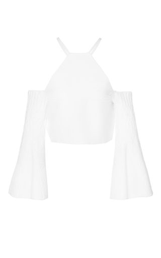 Medium roland mouret white turing floral knit top