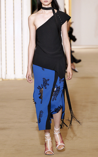 Medium roland mouret multi brantley floral palm lace skirt