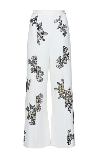 Medium roland mouret multi glover floral palm lace trousers