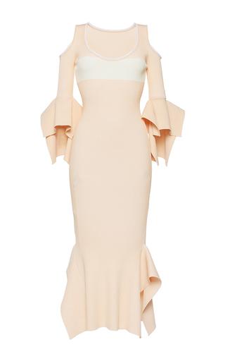 Medium roland mouret orange corely rib knit dress