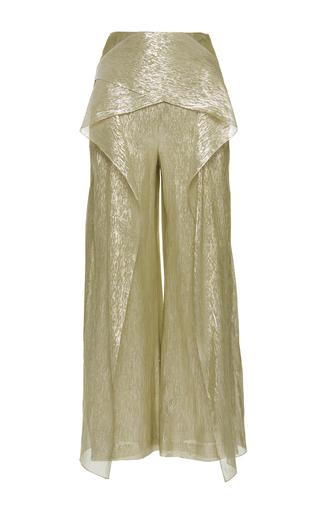 Medium roland mouret yellow caldwell silk lurex georgette trousers