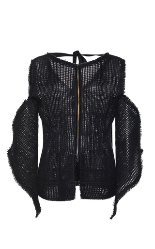 Medium roland mouret black holt linen mesh jacket