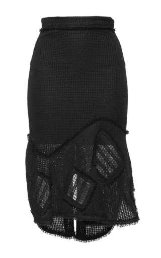Medium roland mouret black croft linen mesh skirt