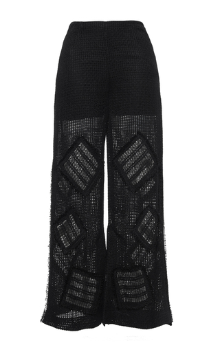 Medium roland mouret black glover linen mesh trousers