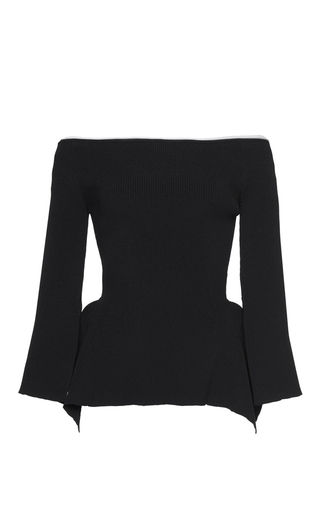 Medium roland mouret black cartwright rib knit top