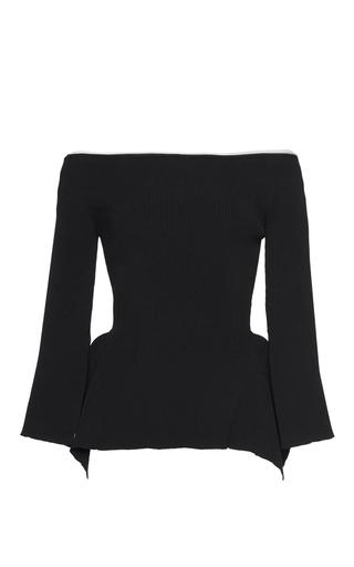 Medium roland mouret black cartwright rib knit top