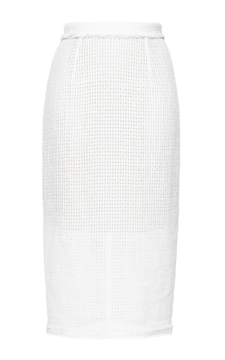 Medium roland mouret white arreton linen mesh skirt