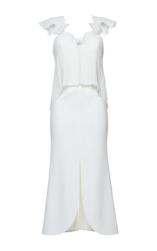 Medium roland mouret white fawcett linen mesh dress