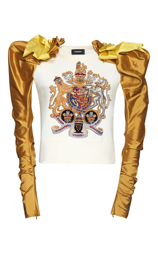 Medium dsquared2 multi dean embroidered jersey top