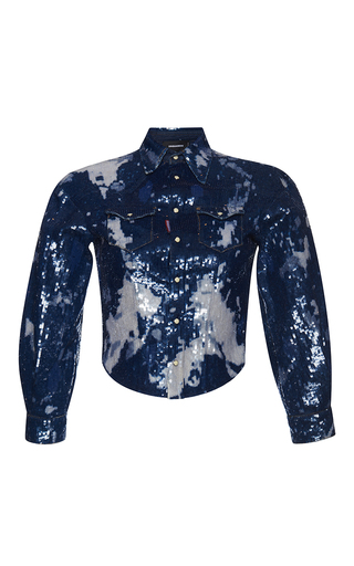 Medium dsquared2 blue maculato wash denim shirt