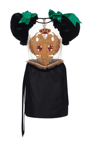Medium dsquared2 black mink sleeve embroidered sheer dress