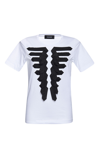 Medium dsquared2 white renny fit marching t shirt