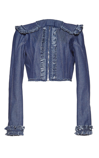 Medium andrew gn blue ruffled detailed denim jacket