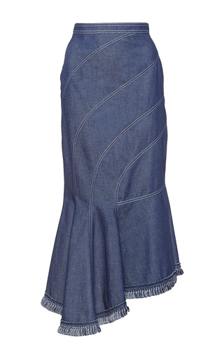 Medium andrew gn blue asymmetrical denim skirt