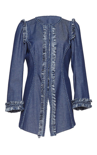 Medium andrew gn blue three quarter length sleeve denim jacket