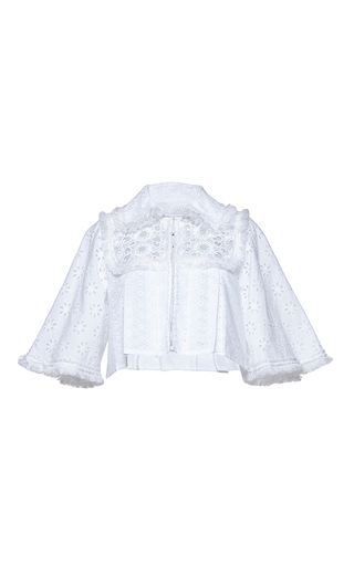 Medium andrew gn white cropped eyelet jacket