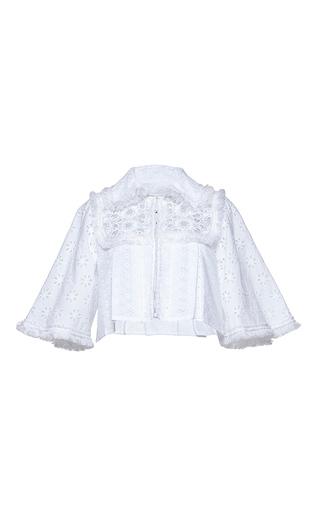 Medium andrew gn white cropped eyelet jacket