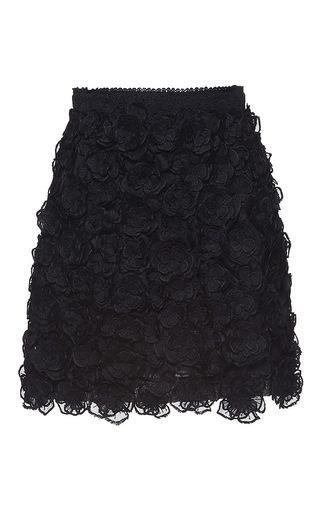 Medium andrew gn black floral embroidered mini skirt