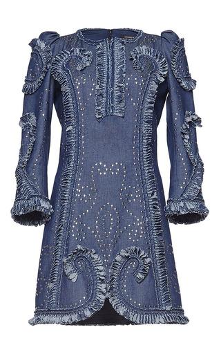 Medium andrew gn blue long sleeve studded dress