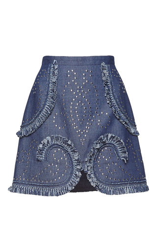 Medium andrew gn blue studded denim mini skirt